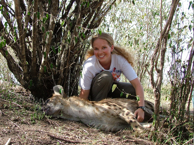 Jennifer Smith comes to Mills with lots of experience in the field and has proven to be a popular instructor. She has studied Hyenas in Kenya. (Courtesy of Jennifer Smith.)