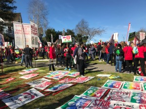 Members of the Oakland Unified School District gathered to strike.